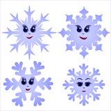 Uppsättning av roliga snöflingor Royaltyfri Fotografi