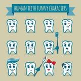 Uppsättning av roliga tecken för mänskliga tänder Royaltyfri Foto