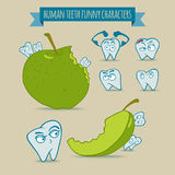 Uppsättning av roliga tecken för mänskliga tänder med äpplet Arkivfoto
