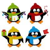 Uppsättning av roliga tecknad filmXmas-pingvin Fotografering för Bildbyråer