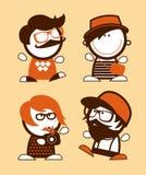 Uppsättning av roligt folk för hipster. Arkivbilder