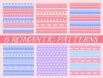 Uppsättning av romantisk rosa sömlös modell 6 för valentindag Royaltyfri Foto