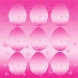 Uppsättning av rosa ägg med fjärilar på bakgrund Royaltyfria Bilder
