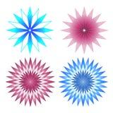 Uppsättning av 4 rosa färg- och blåttabstrakt begreppblommor Arkivfoton