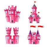 Uppsättning av rosa felika slottar Arkivfoto
