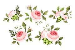 Uppsättning av rosa rosor. royaltyfri illustrationer