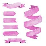 Uppsättning av rosa vattenfärgband för designen, garnering royaltyfri fotografi