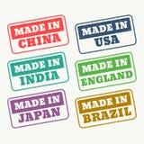 uppsättning av rubber stämplar för gjort i porslinet, USA, Indien, Japan, engla Royaltyfri Foto