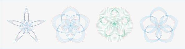 Uppsättning av runda geometriska kurvor i dubbelsignalfärg vektor illustrationer
