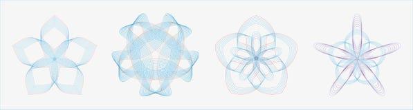 Uppsättning av runda geometriska kurvor i dubbelsignalfärg stock illustrationer