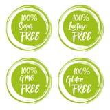 Uppsättning av runda gröna etiketter med text - laktos fritt, fritt socker, gluten fritt, gmo fritt vektor illustrationer