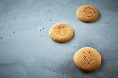 Uppsättning av runda kakor med olika sinnesrörelser, framsidor med sinnesrörelser Royaltyfria Bilder