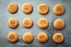 Uppsättning av runda kakor med olika sinnesrörelser, framsidor med sinnesrörelser Royaltyfria Foton