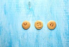 Uppsättning av runda kakor med olika sinnesrörelser, framsidor med sinnesrörelser Arkivbilder