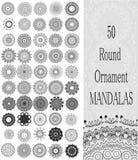 Uppsättning av 50 runda mandalas för prydnad Royaltyfri Fotografi