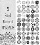 Uppsättning av 50 runda mandalas för prydnad Arkivfoto