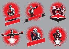 Uppsättning av runda stridslystna sportsymboler eller emblem Royaltyfri Bild