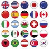 Uppsättning av runda tillstånd för flaggavärldsöverkant stock illustrationer