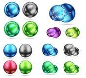 Uppsättning av rundacirklar och sfärer för metall 3d Techno symbolsbegrepp Royaltyfri Fotografi