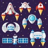 Uppsättning av rymdskepp och satelliter också vektor för coreldrawillustration avstånd vektor illustrationer
