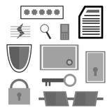 Uppsättning av säkerhetssymboler Fotografering för Bildbyråer