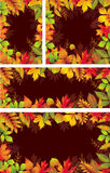 Uppsättning av säsongsbetonade baner av höstliga sidor Arkivbilder
