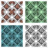 Uppsättning av sömlös drog modeller för vektor dekorativ hand Etnisk ändlös bakgrund Arkivbild