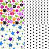 Uppsättning av sömlös mönstrad textur fyra Arkivfoton