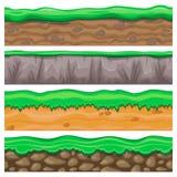 Uppsättning av sömlös stenig och sandig jordning för videospeldesign Arkivfoton