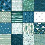 Uppsättning av sömlös textur 16 Droppar pekar, fodrar, gör randig, cirklar, fyrkanter, rektanglar Abstrakt begreppformer som dras stock illustrationer