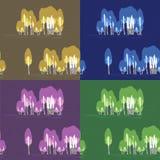 Uppsättning av sömlös textur 4 med björken i Royaltyfri Illustrationer