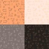 Uppsättning av sömlös textur 4 med djur och ägg Vektor Illustrationer