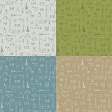 Uppsättning av sömlös textur 4 med trädgårds- utrustning Vektor Illustrationer