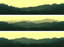 Uppsättning av sömlösa bakgrunder för berg Royaltyfri Bild