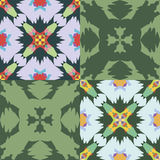 Uppsättning av sömlösa dekorativa modeller Colorfull och gräsplansignaler Royaltyfri Illustrationer