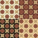 Uppsättning av sömlösa dekorativa modeller i bruna signaler Vektor Illustrationer
