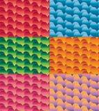Uppsättning av sömlösa färgrika vektorhjärtamodeller stock illustrationer