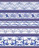 Uppsättning av sömlösa horisontalgränser eller etnisk målning för stilGzhel porslin vektor illustrationer