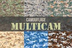 Uppsättning av sömlösa modeller för Multicam kamouflage royaltyfri illustrationer