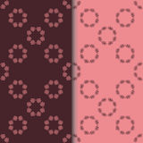 Uppsättning av sömlösa modeller med runt blom- tryck två vektor illustrationer