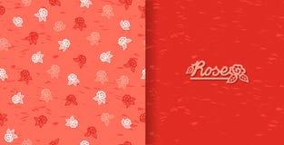 Uppsättning av sömlösa modeller med tappningrosor Tappningbakgrund med att blomma blommakonturn stock illustrationer