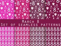 Uppsättning av sömlösa modeller på mars 8 Internationella Women& x27; s-dag Modeller med hjärtor, cirklar, blommor och diamanter Royaltyfri Fotografi