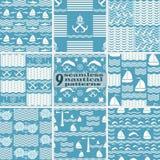 Uppsättning av sömlösa nautiska havsmodeller blått och vitfärger royaltyfri illustrationer