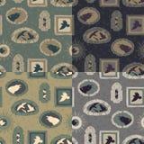 Uppsättning av 4 sömlösa texturer med galanden Royaltyfri Illustrationer