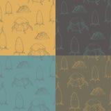 Uppsättning av 4 sömlösa texturer med hö Stock Illustrationer