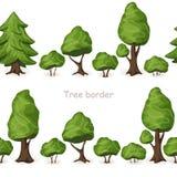 Uppsättning av sömlösa trädgränser Royaltyfria Bilder