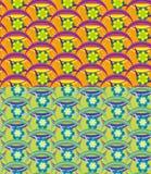 Uppsättning av sömlösa vektorblommamodeller stock illustrationer