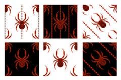 Uppsättning av sömlösa vektormodeller, symmetriska geometriska bakgrunder med spindlar vektor illustrationer