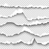 Uppsättning av sönderrivet papper på genomskinlig bakgrund stock illustrationer