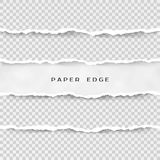 Uppsättning av sönderrivna pappers- band Pappers- textur med den skadade kanten som isoleras på genomskinlig bakgrund också vekto royaltyfri fotografi